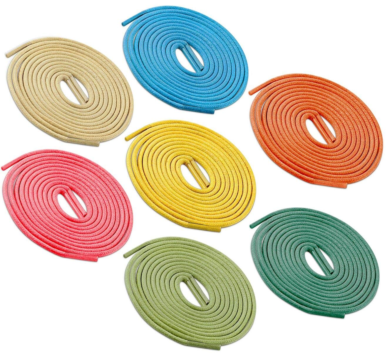 Brother Brother Colored Oxford Shoe Laces for Men (7 Pairs) | 100% Cotton Round and Waxed Shoelaces for Dress Shoes | Gift Box with Yellow, Orange, Turquoise, Apple Green, Green, Off White and Pink