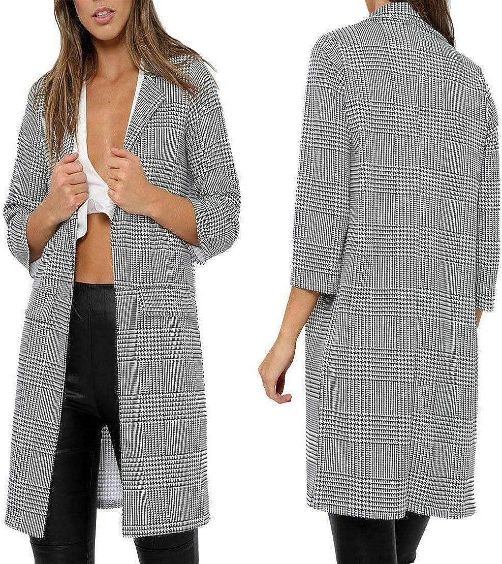 Ladies//Women Check Dogtooth Tartan Duster Coat 3//4 Sleeve Jacket Blazer UK 8-26