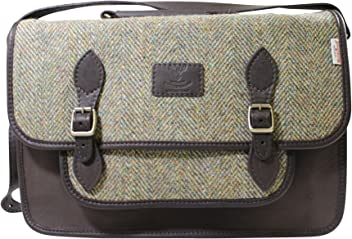 fa829d0f9a Wild Scottish Black Deerskin and Traditional Green Herringbone Harris Tweed  Satchel with Adjustable Shoulder Strap