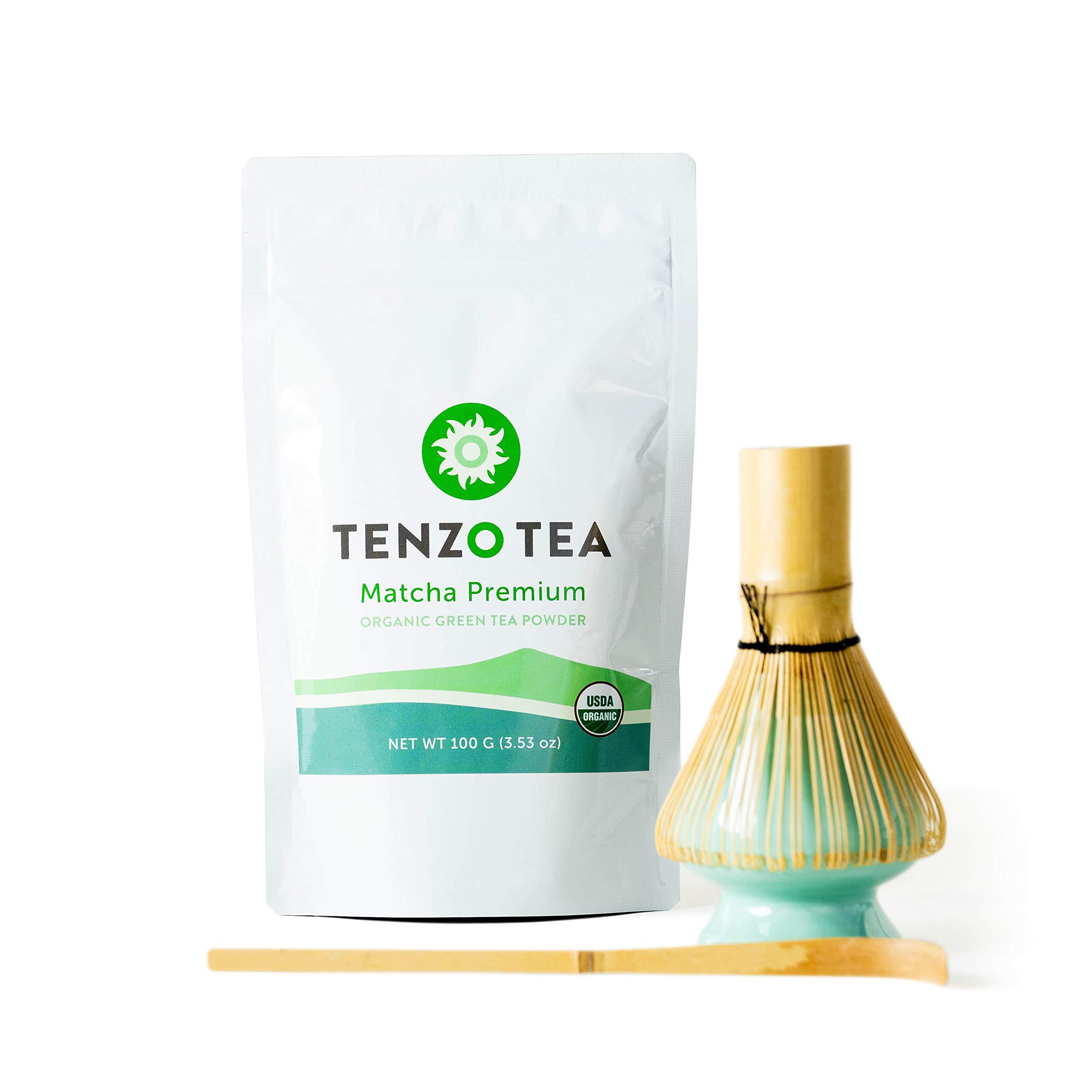 Tenzo Tea - Premium Starter Kit (Ceremonial Grade Matcha) - Whisk, Whisk Stand, Scoop, Matcha - USDA Organic, Kosher, Vegan, Paleo/Keto Friendly (100 Gram - Starter Kit)