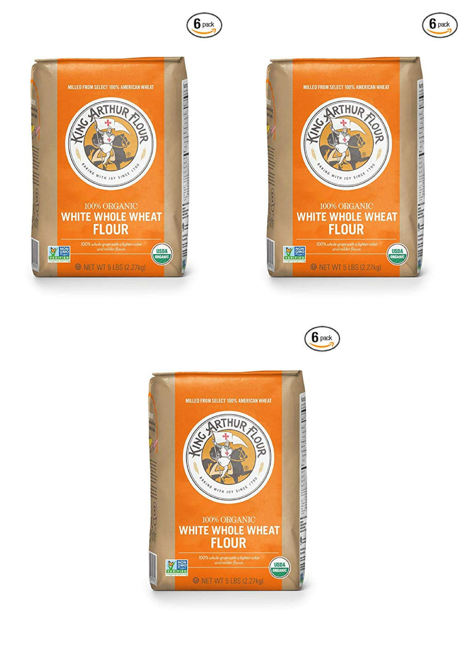 King Arthur Flour 100% Organic White Whole Wheat Flour, 5 Pound (18 Pack) by King Arthur Flour (Image #1)