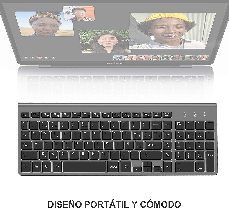 JOYACCESS Teclado inal/ámbrico Delgado y Compacto Teclado inalambrico espa/ñol,teclados para pc,Laptop,Mac y Smart TV 2.4G Teclado Ordenador Negro y Gris