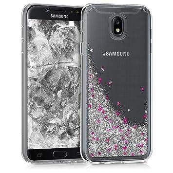 kwmobile Funda para Samsung Galaxy J7 (2017) DUOS - Carcasa Protectora de TPU para móvil - Cover Trasero en Plata/Rosa Fucsia/Transparente