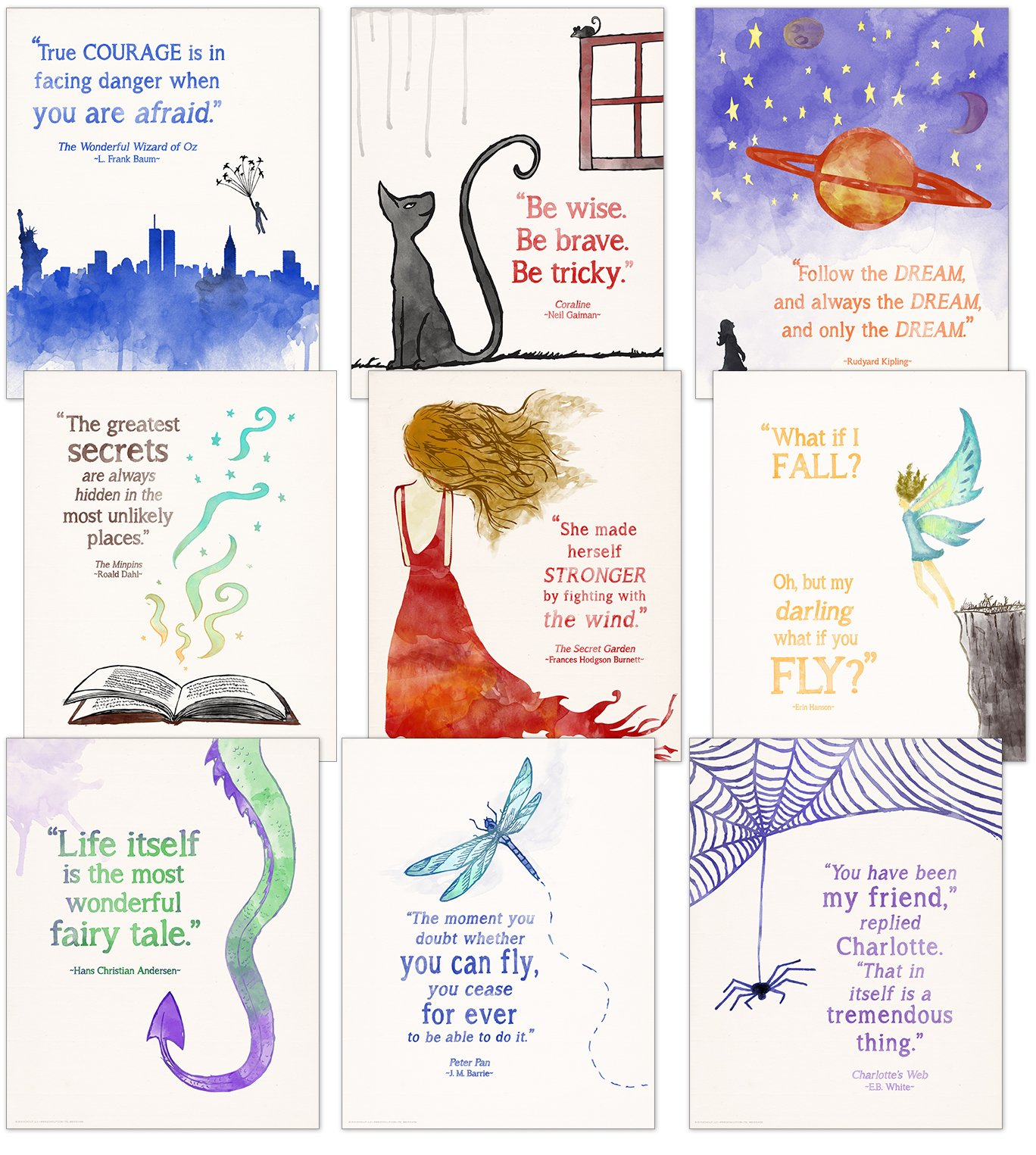 ECHO-LIT Children`s Literature Inspirational Quote Nine Poster Set for Home, Classroom or Library by ECHO-LIT (Image #1)
