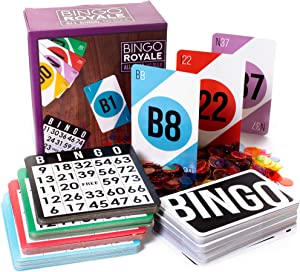 Bingo Royale Bundle | Complete Bingo Set with 1,000 Chips, 100 Cards, and Jumbo Deck of Calling Cards | All-Inclusive Kit for Schools, Rec Centers, Senior Homes, Charity Events, and Large Group Games