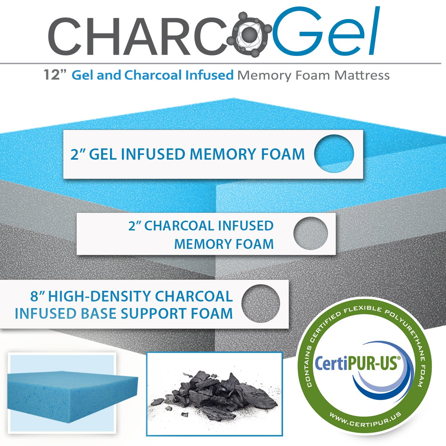 amazon com 12 inch charcoal infused gel memory foam mattress queen