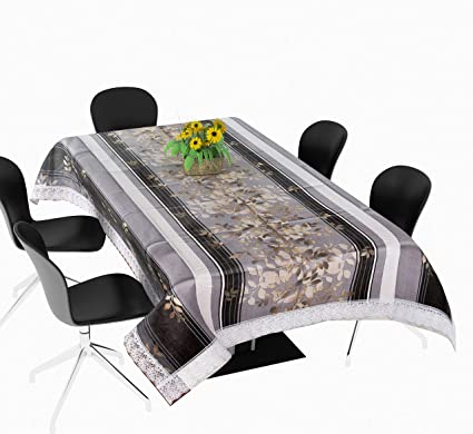 Yellow Weaves Plastic Waterproof Floral Printed Cover for 6 Seater Dining Table (60x90-inch, Multicolour)