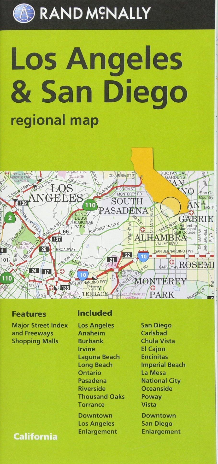Rand McNally Los Angeles & San Diego, CA Regional Map (Green ...