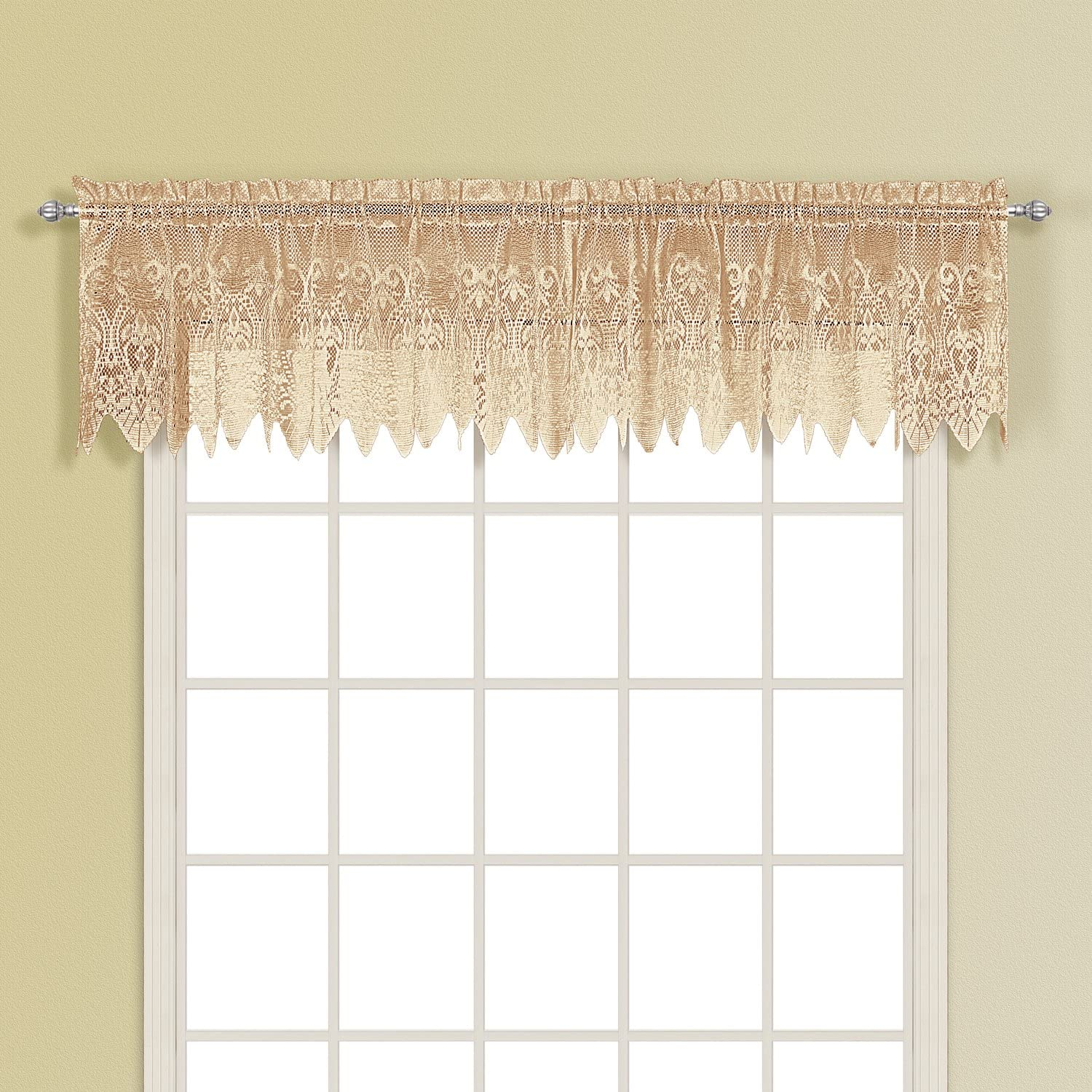 American Curtain and Home Patricia Window Treatment Valance, 52-Inch by 15-Inch, Taupe
