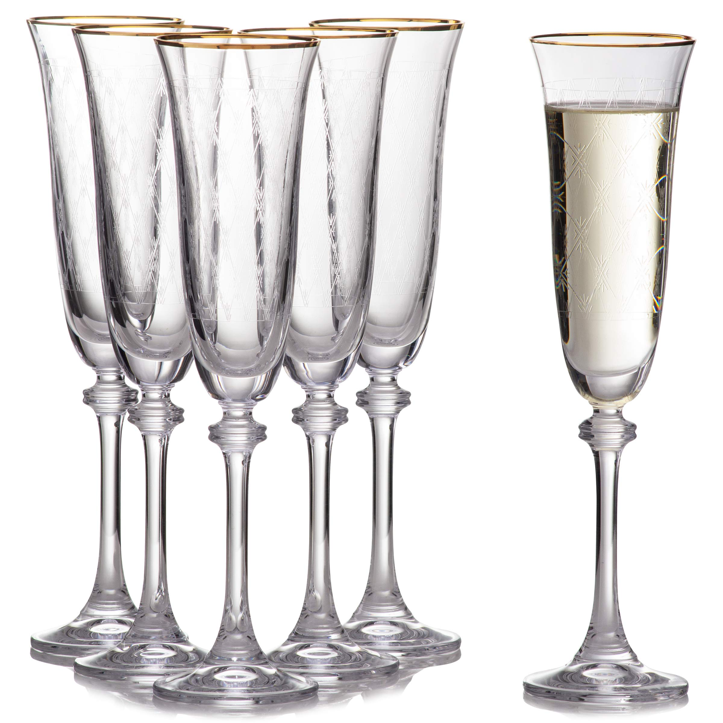 Gold Rimmed & Diamond Decor Champagne Flute Set (6 pack), Chip Resistant & Crystal Clear Glassware,  100% Lead-Free - European Quality & Luxury Collection, 6.42 Ounces