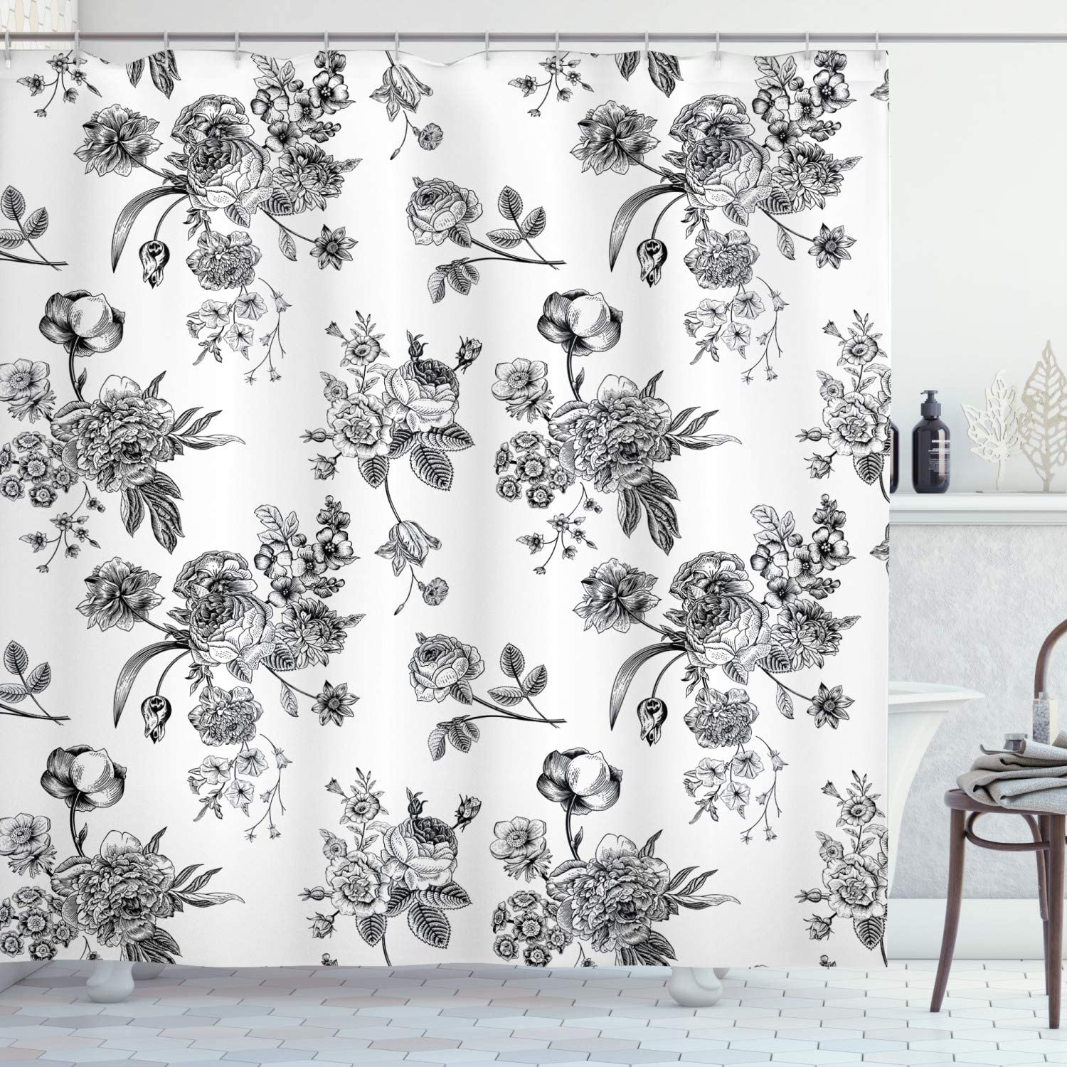 "Ambesonne Black and White Shower Curtain, Vintage Floral Pattern Victorian Classic Royal Inspired New Modern Art, Cloth Fabric Bathroom Decor Set with Hooks, 70"" Long, Black and White"