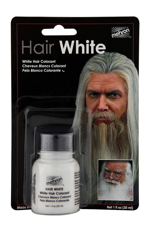 Mehron HAIR WHITE w/Brush 1 oz. - Perfect for Santa Costumes - Washes out MHW1oz