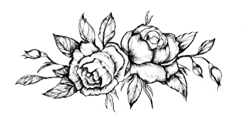Amazoncom Black Roses Flower Temporary Tattoo Realistic Body