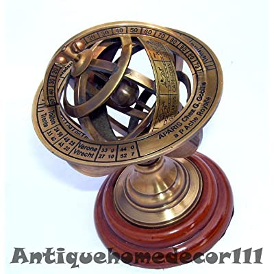 Antique Nautical Brass Armillary Sphere World Globe Rosewood Base Desktop Gift: Home & Kitchen