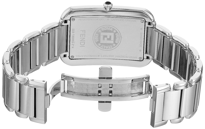 1e5c40543712 Amazon.com  Fendi Classico Rectangular Swiss Made Classic Mens Thin Watch  Stainless Steel Metal Band - Analog Quartz Black Face with Sapphire crystal  Luxury ...