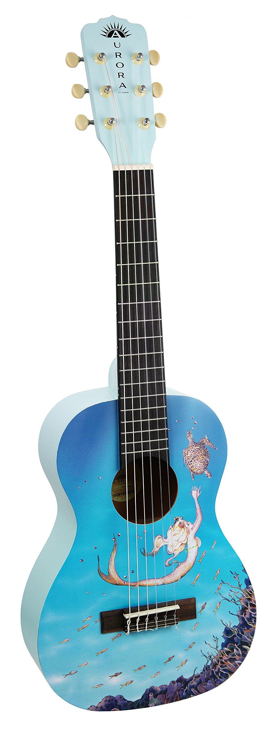 Luna AR2 NYL MERMAID Aurora 1/2 Acoustic Guitar, Nylon Mermaid by Luna Guitars