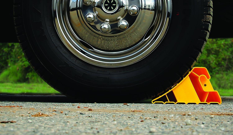 SAFETY WHEEL CHOCKS RED WEDGES COMPACT CARAVAN MOTORHOME TRAILER CAR