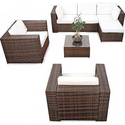 XXL Polyrattan Loungemöbel Set Balkon erweiterbar - Polyrattan Lounge XXL -  braun-mix – Gartenmöbel Lounge Eck Rattan Set - inkl. Lounge Sessel + ...
