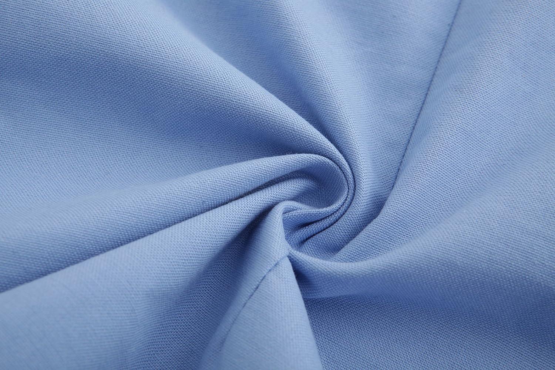 Emiqude Mens 100/% Oxford Cotton Slim Fit Long Sleeve Button Down Solid Dress Shirt