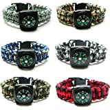 Frogsac 6 Pieces Compass Paracord Survivor Braid Bracelets for Guys - 9'' - Great Party Favors