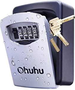 Key Lock Box, Ohuhu Key Storage Lock Box, Wall Mount 4-Digit Combination Key Safe Lock Box, for Outside House Key Car Keys, Resettable Code Weatherproof Indoor Outdoor with Mounting Kit Ideal for Home