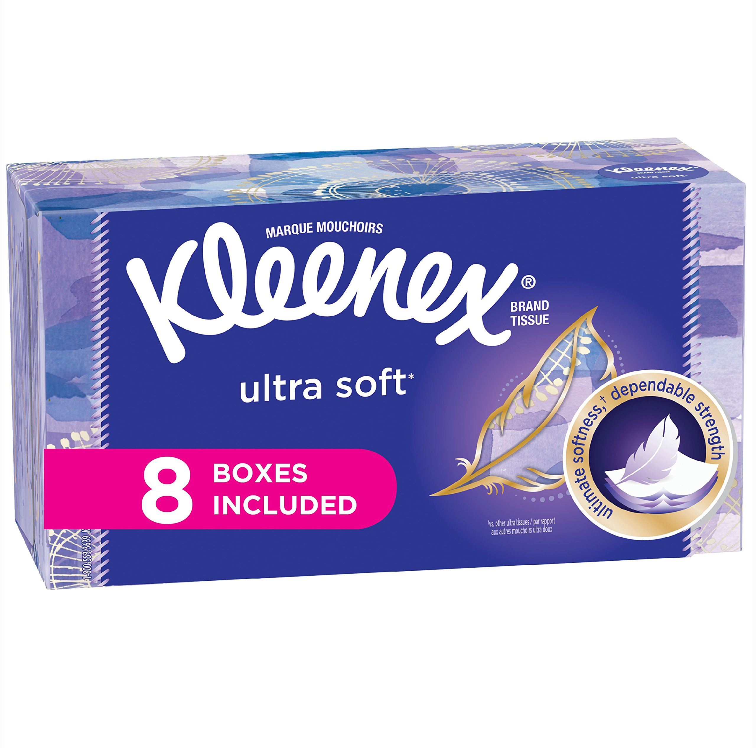 Kleenex Ultra Soft Facial Tissues, Flat Box, 130 Tissues per Flat Box, 8 Packs