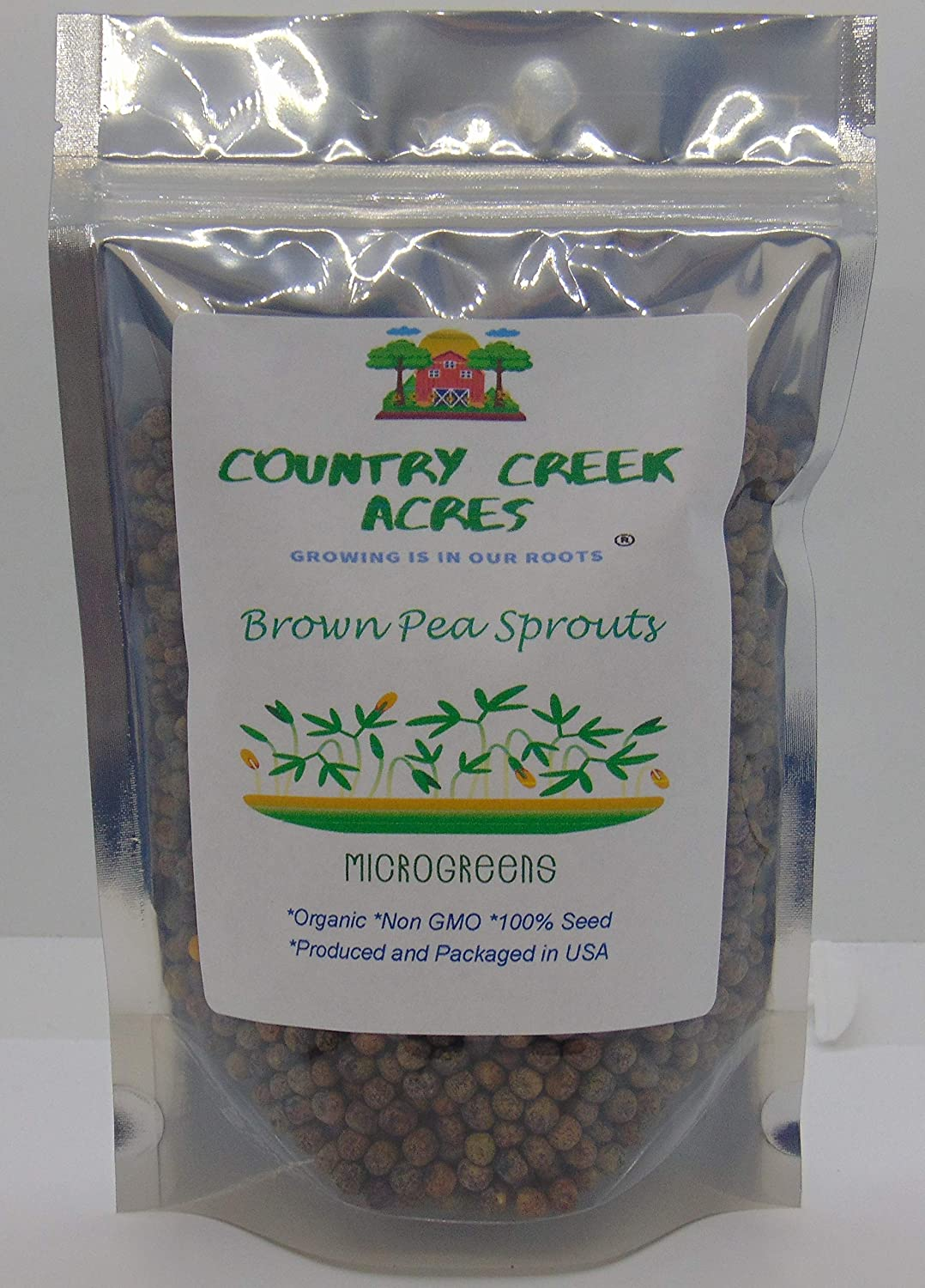 Brown Speckled Pea Sprouting Seed, Non GMO - 2 oz - Country Creek Brand - Brown Peas Sprouts, Garden Planting, Cooking, Soup, Emergency Food Storage, Vegetable Gardening, Juicing, Cover Crop