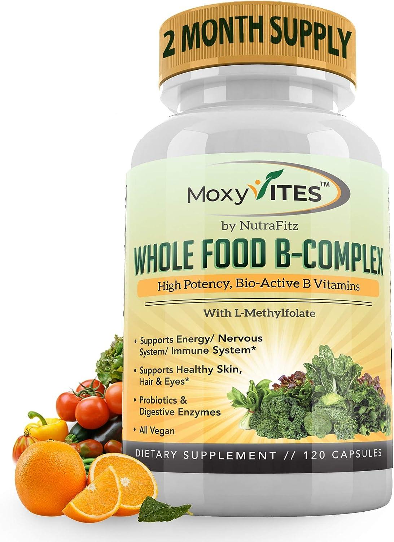 Vitamin B Complex - B Vitamins Whole Food Supplement, B12 Methylcobalamin, B1, B2, B3, B5, B6, B7, B9 - for Stress, Energy and Immune Support, Vegan, 120 Capsules
