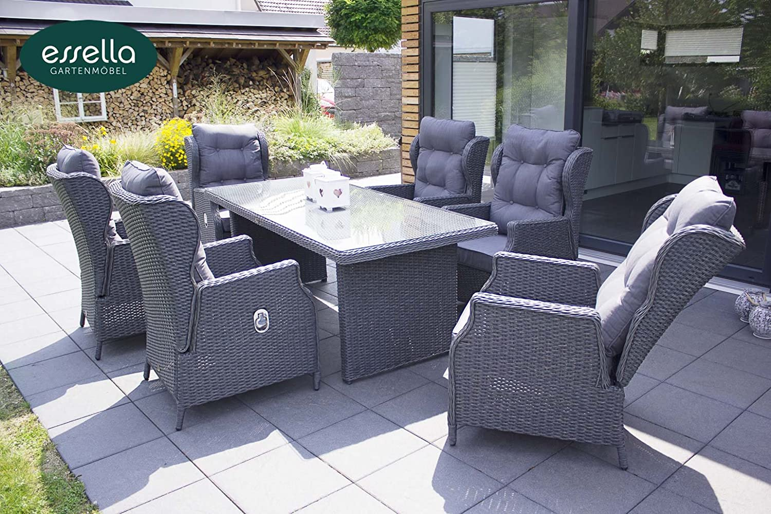 polyrattan sitzgruppe kingston 6 personen rundgeflecht grau meliert gartenm bel. Black Bedroom Furniture Sets. Home Design Ideas
