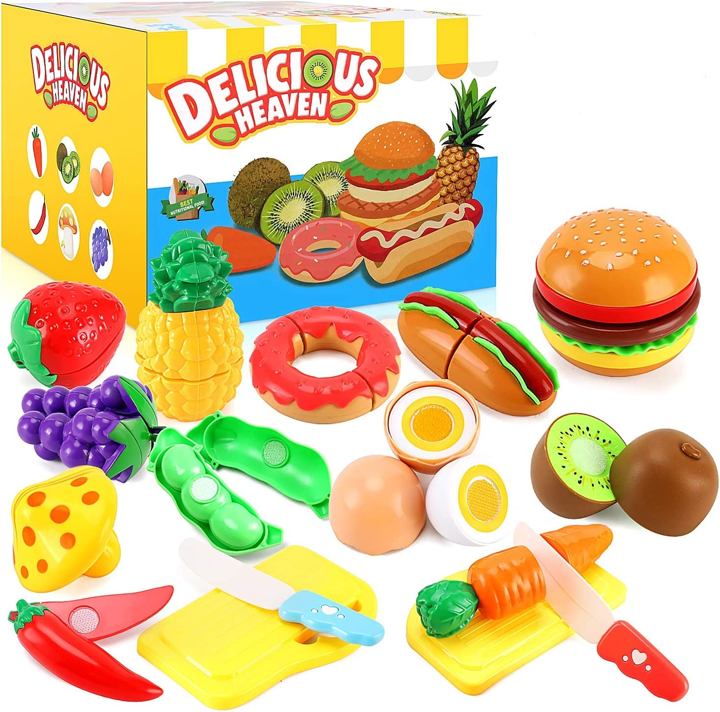 33pcs Cutting Pretend Play Food Toys for Kids Kitchen Set Playset Accessories BPA Free Peel & Cut Toy Food Fruits and Vegetables Toys, Christmas Birthday Gift for Toddlers Girls Boys Kids Storage Box