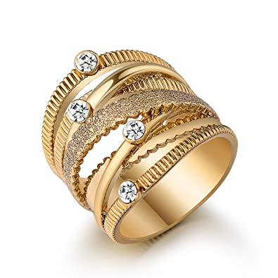 d221abe4a16 Slyq Jewelry Wide Gold Color Multilayer Ring Trendy womens ...