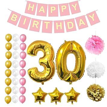 Globos Cumpleaños Happy Birthday , Suministros y Decoración por Belle Vous - Set 32 Piezas -
