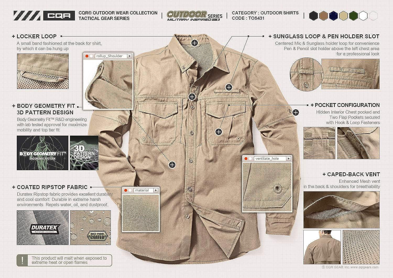 CQR Camisas de trabajo de manga larga para hombre, camisetas ...