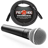 Shure SM58 Cardioid Vocal Microphone & Pig Hog Black & White Woven Mic Cable, 20ft XLR - Bundle