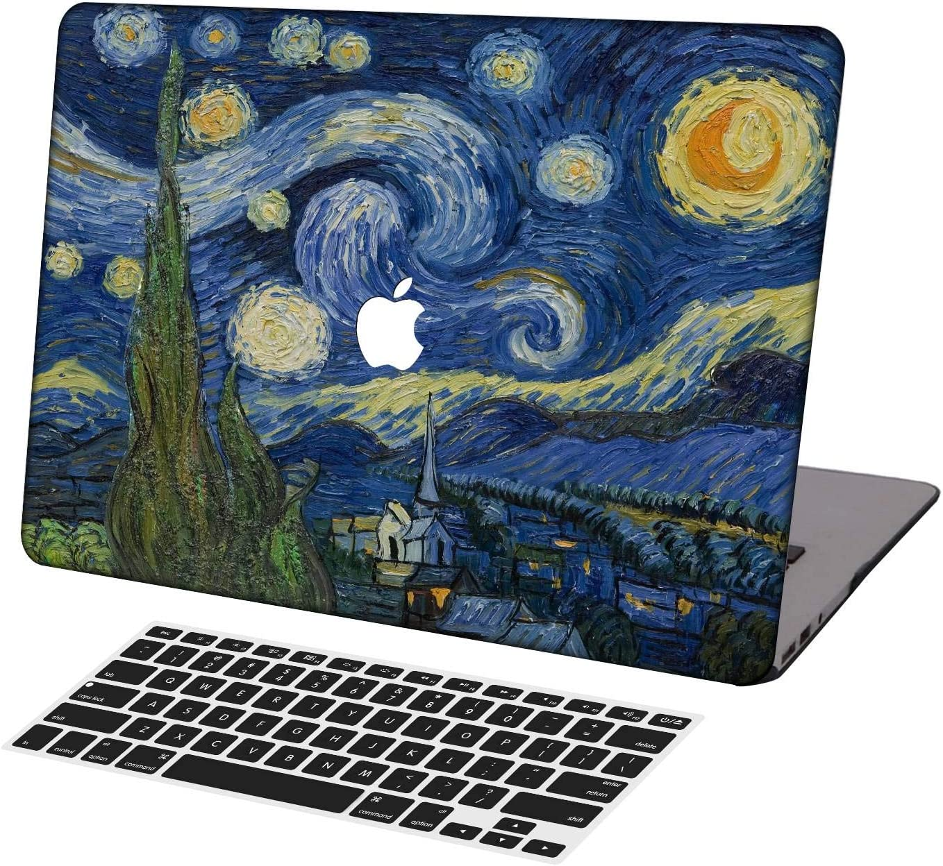 KSK KAISHEK Laptop Case for MacBook Air 13 inch Model A1932/A2179,Plastic Ultra Slim Light Hard Shell Case Cover Keyboard Cover Compatible MacBook Air 13 inch with Touch ID,Van Gogh Starry Night