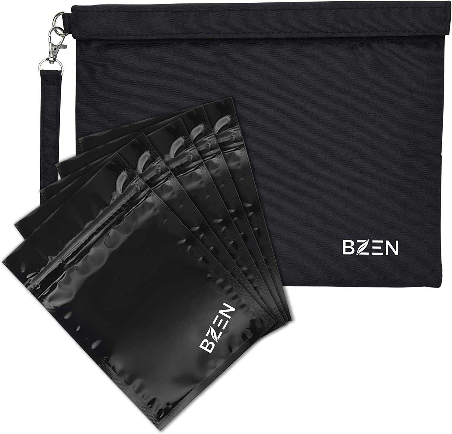 Smell proof bag bolsa a prueba de olores by Bzen pouch container 12x9 inches + 5 Plastic RESEALABLE bags for Herbs, Spices, Tea, Cheese Activated Carbon Lining, Heavy Duty, Detachable Handle