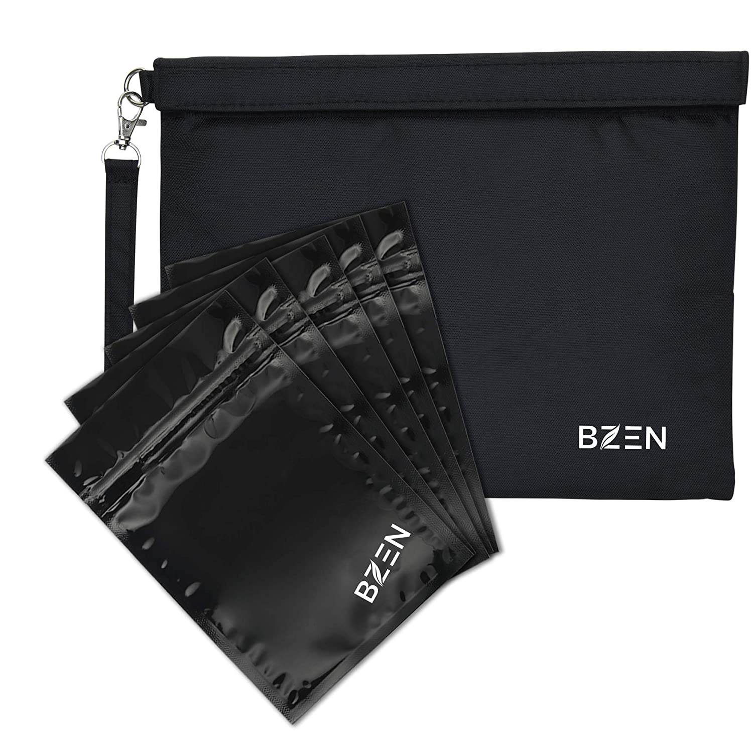 Smell Proof Bag/Pouch / Container 7x6 Inches for Herbs, Spices, Tea, Cheese, Anything with Strong Odor. Activated Carbon Lining, Heavy Duty, Detachable Handle Bzen