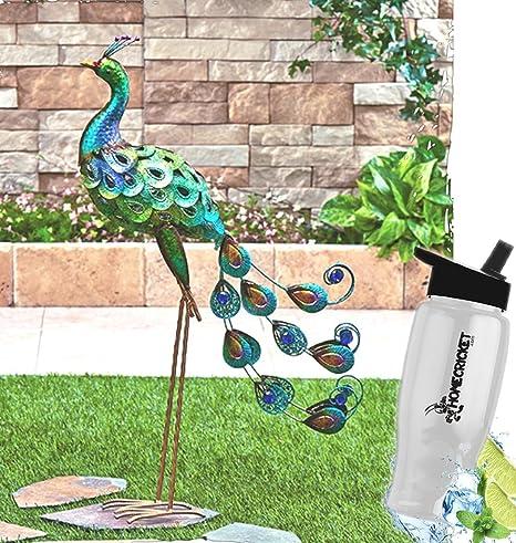 Gift Included  Outdoor Garden Multicolored Shimmering Metallic Bird Yard  Sculpture Decor + FREE Bonus Water