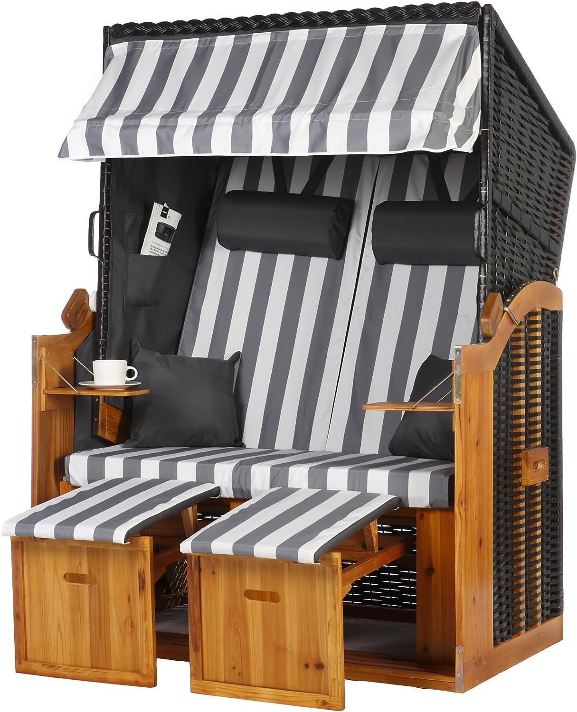 WODEGA - Silla de playa para el mar Báltico, tamaño 2 plazas, color gris antracita y blanco, con rayas en aspecto elegante, ratán de polietileno y madera de pino