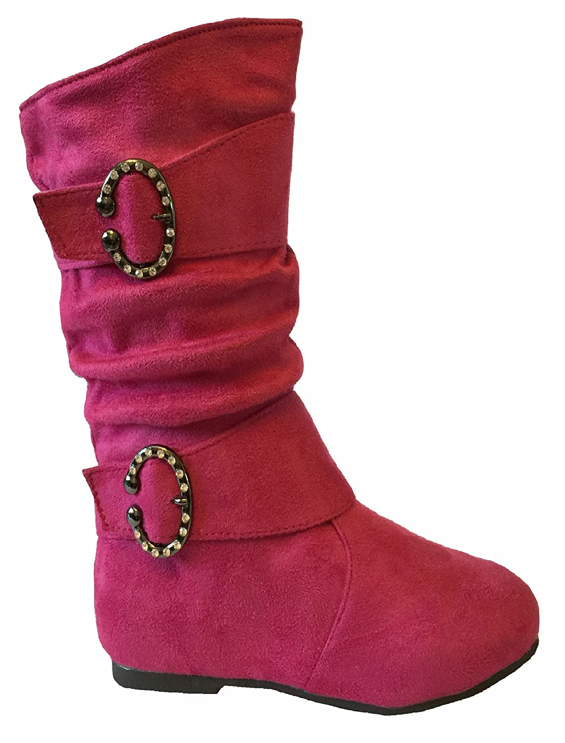 EyesOnStyle New Girls Slouch Comf Tall Midcalf Suede Winter Boots Shoes 4 M Toddler, H. PinkC063