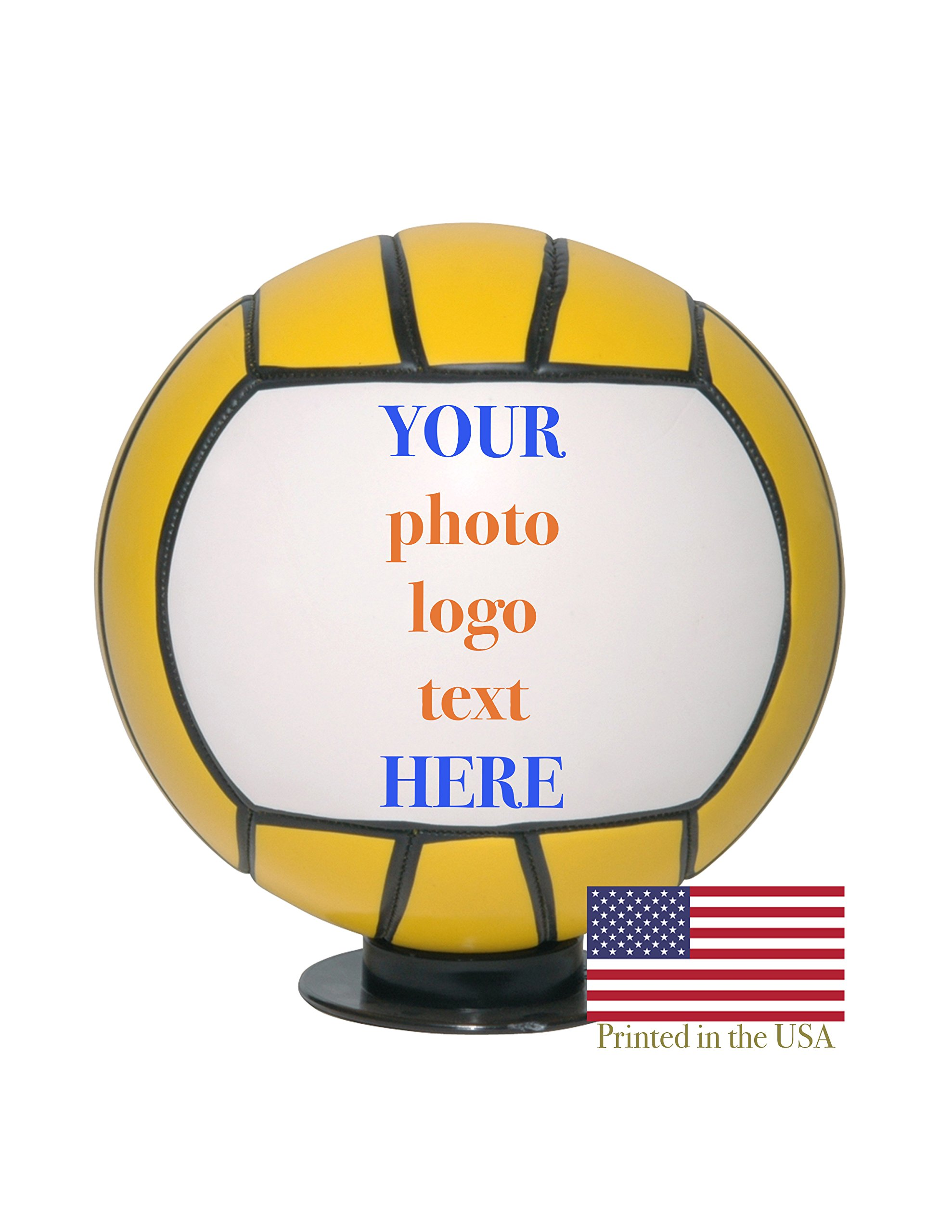 Custom Personalized Water Polo Ball Full Sized 12 Inch Regulation Ball Ships Next Day, High Resolution Photos, Logos & Text on Balls Trophies, Personalized Gifts