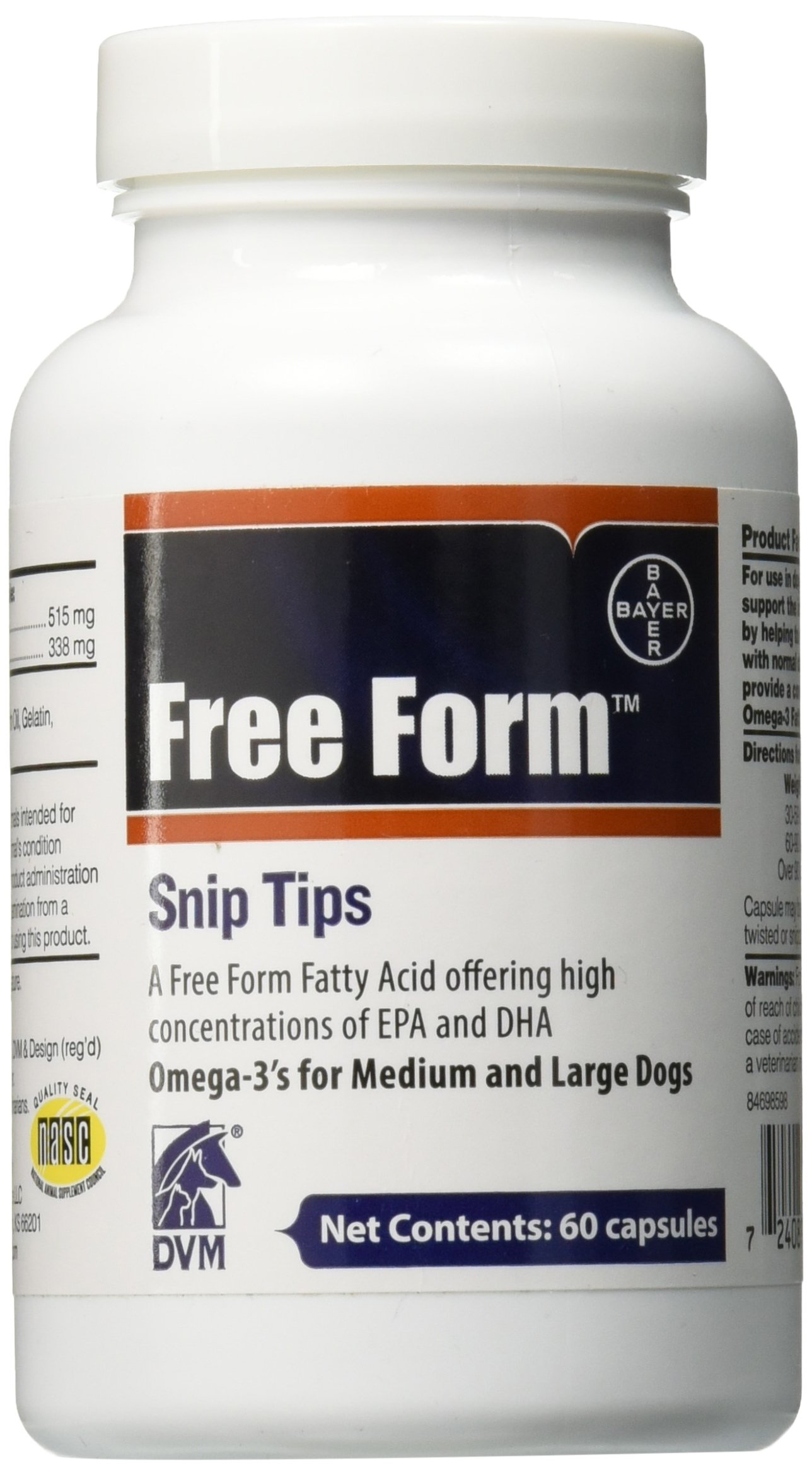 Bayer Free Form Snip Tips Gel Capsules, Omega-3 Fish Oil, 60ct, Fatty Acids for Cardiovascular, Joint, Cognitive, Kidney, Ocular Health, Medium to Large Dogs with High Levels of EPA and DHA