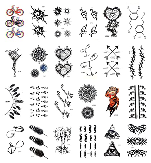 Amazon Com 24 Sheets Compass Anchor Dreamcatcher Temporary Tattoo