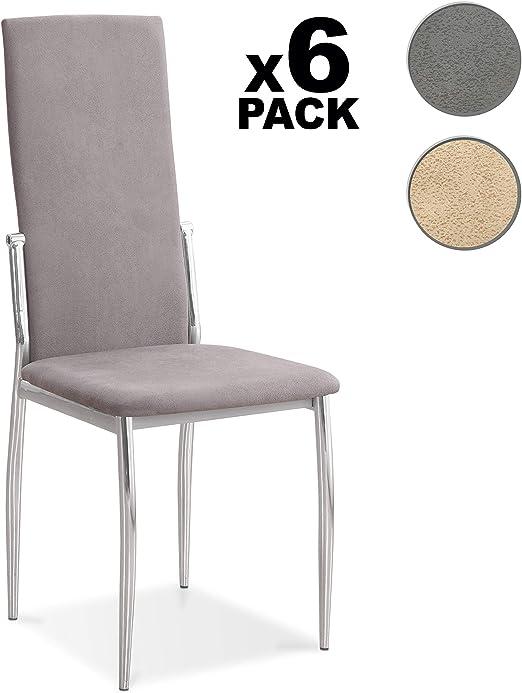 DISTRIGAL.SL HomeSouth - Pack 6 sillas de Comedor, salón o Cocina ...