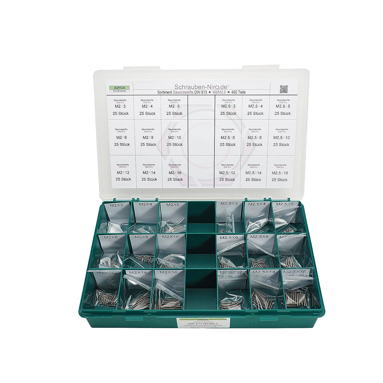 Sortiment/Set Edelstahl Madenschrauben DIN 913 - M3 + M4 - VA A2 V2A - Gewindestifte mit Kegelkuppe - 600 Teile schrauben-niro.de ®