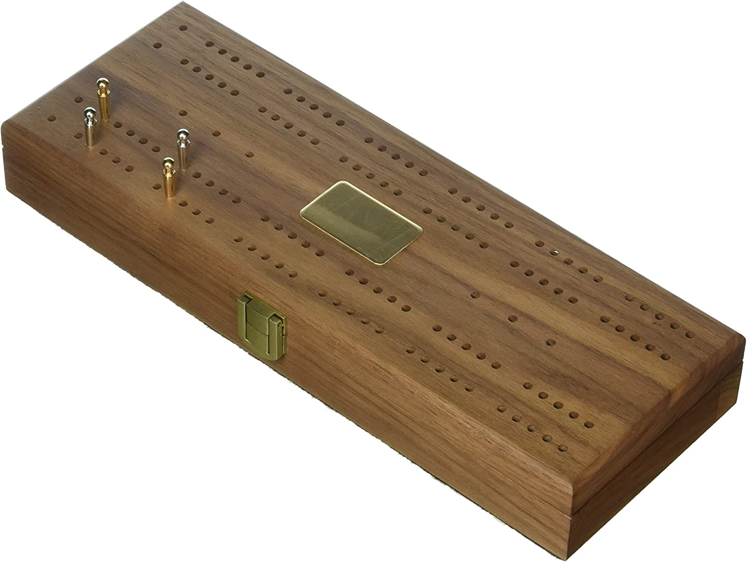"""""""Mariner"""" Classic Domino Set with Black Walnut Case - Premium Quality 28 Indestructible Double-Six Dominoes with 2 18 Karat Gold-plated and 2 Nickel-plated Scoring Pegs"""