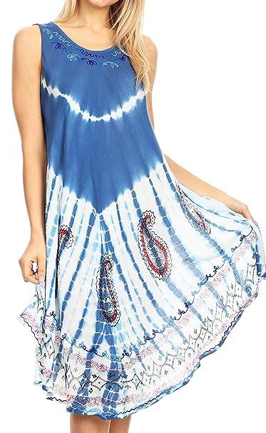 6b4513b337 Sakkas 18152 - Violeta Women's Tie Dye Paisley Caftan Midi Sleeveless Tank Dress  Cover Up -