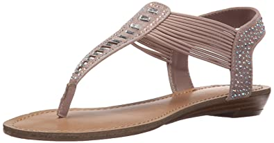 Madden Girl Womens Triixie Open Toe Casual T-Strap Sandals, Blush Fab, Size