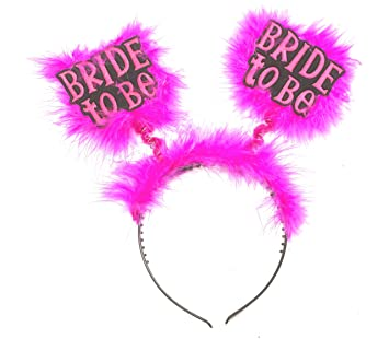 Amazon.com  Forum Novelties Bride to Be Furry Pink Black Headband ... 035f6c0b709