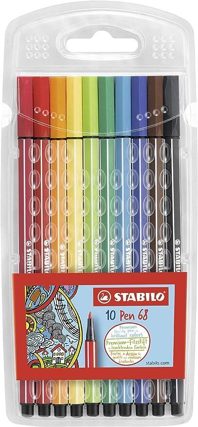 Rotulador STABILO Pen 68 - Estuche con 10 colores: Amazon.es: Oficina y papelería